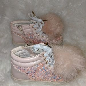 Justice Pink POM girl sneakers